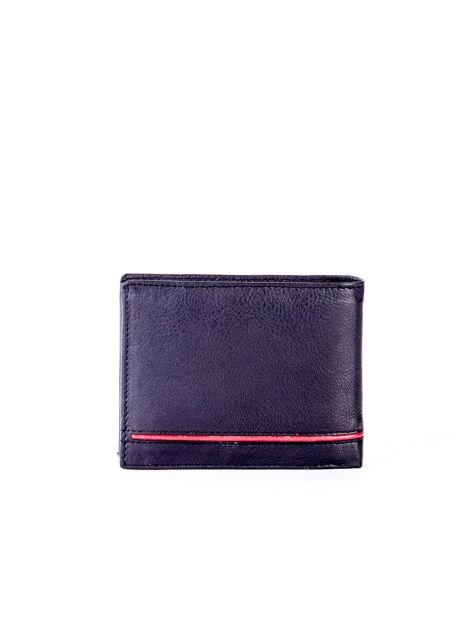 Czarny portfel skórzany z czerwonymi wstawkami                              zdj.                              2