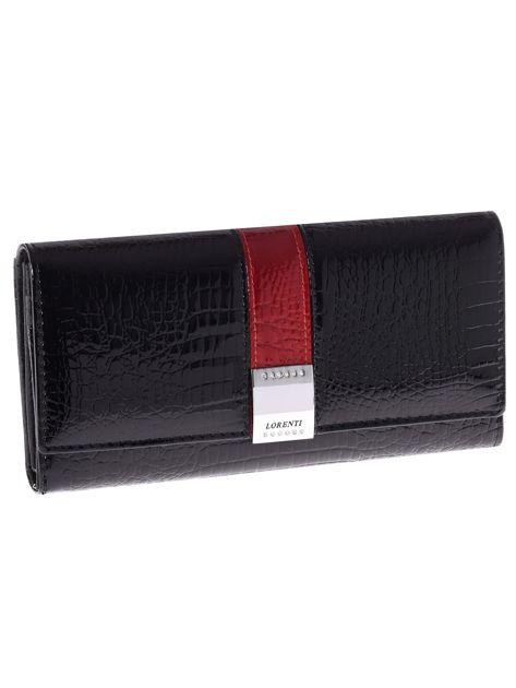 Czarny portfel skórzany z tłoczeniem we wzór skóry krokodyla