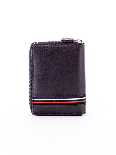 Czarny portfel skórzany z zapięciem na suwak                              zdj.                              2