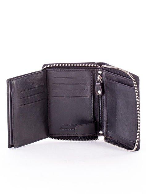 Czarny portfel skórzany z zapięciem na suwak                              zdj.                              6