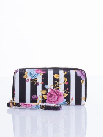 Czarny portfel w kwiaty efekt saffiano                                  zdj.                                  1