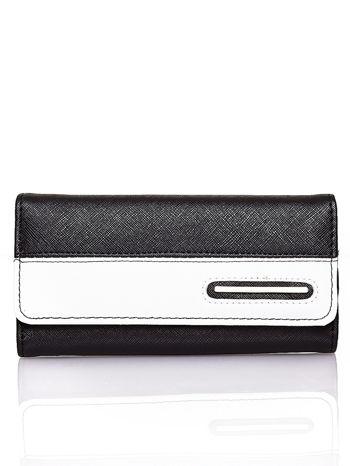 Czarny portfel z białym wykończeniem