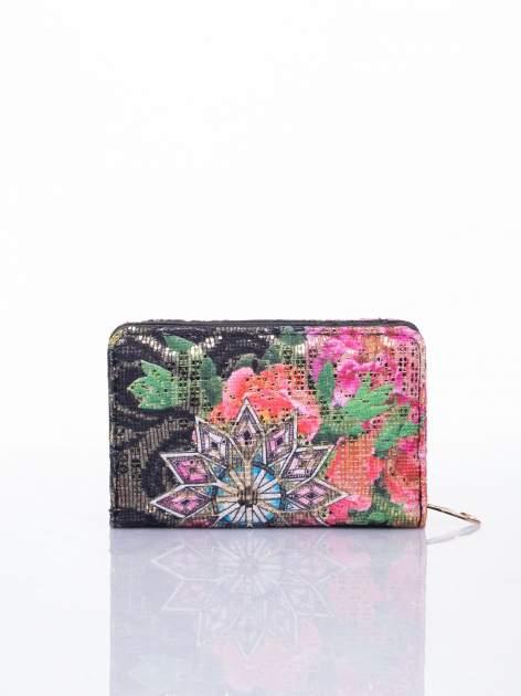 Czarny portfel z kwiatowymi motywami                                  zdj.                                  2