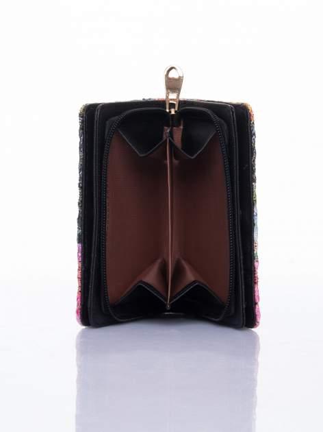 Czarny portfel z kwiatowymi motywami                                  zdj.                                  6