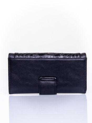 Czarny portfel z motywem skóry aligatora                                   zdj.                                  2