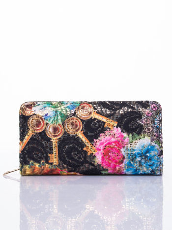 Czarny portfel z nadrukiem paisley                                  zdj.                                  1