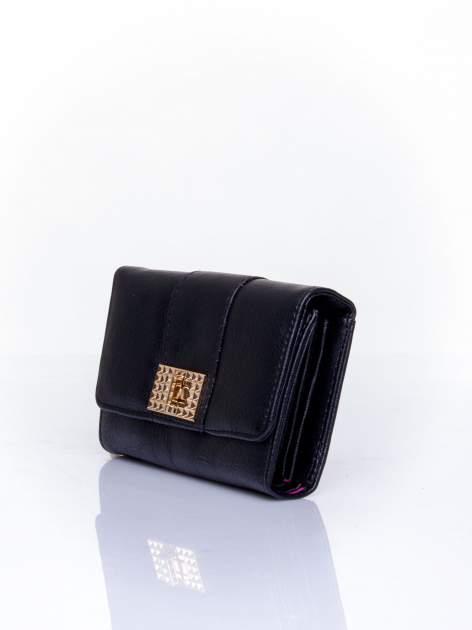 Czarny portfel z ozdobnym zapięciem                                  zdj.                                  3