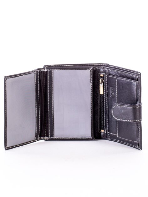 Czarny portfel ze skóry naturalnej z emblematem                              zdj.                              5