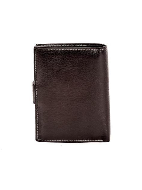 Czarny portfel ze skóry naturalnej zapinany na zatrzask                              zdj.                              2
