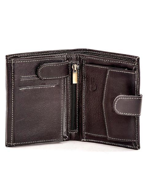 Czarny portfel ze skóry naturalnej zapinany na zatrzask                              zdj.                              4