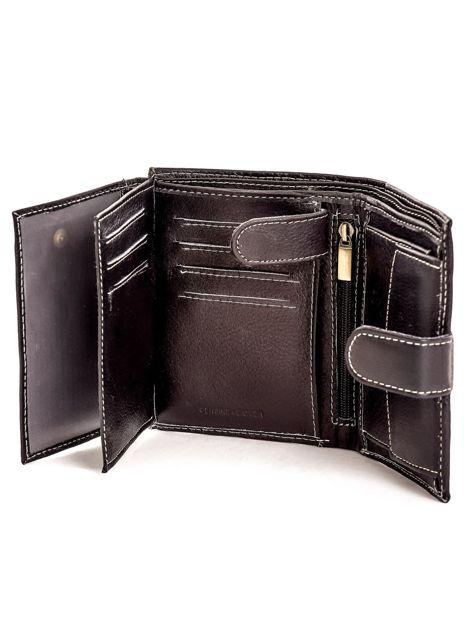 Czarny portfel ze skóry naturalnej zapinany na zatrzask                              zdj.                              5