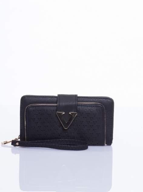 Czarny portfel ze złotym detalem V