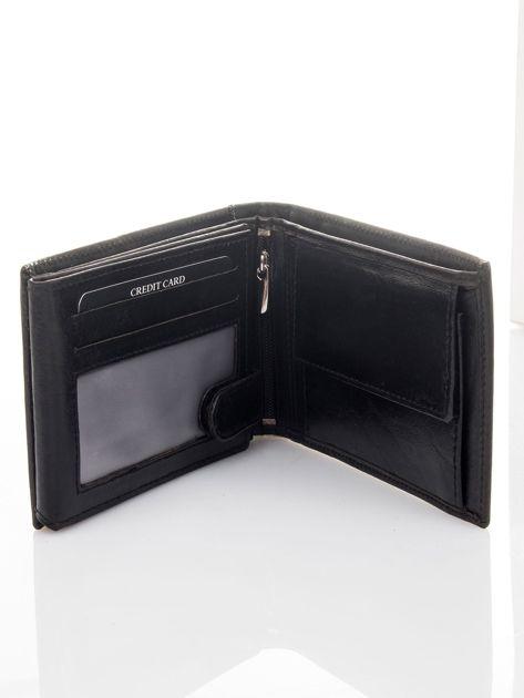 Czarny poziomy portfel męski skórzany                              zdj.                              3