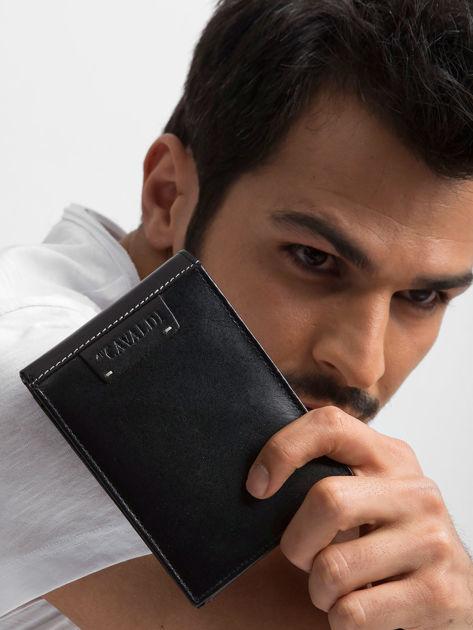 Czarny poziomy portfel męski skórzany                              zdj.                              9