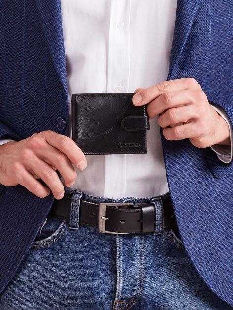 Czarny poziomy portfel skórzany męski