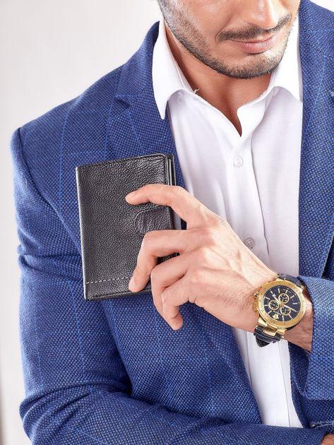 Czarny rozkładany portfel ze skóry                              zdj.                              2