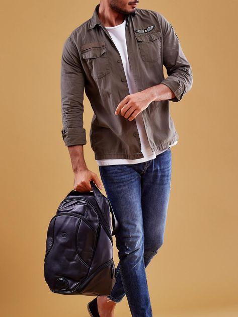 Czarny skórzany plecak męski w stylu motocyklowym                              zdj.                              8