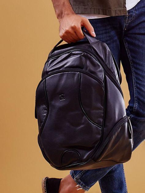 Czarny skórzany plecak męski w stylu motocyklowym                              zdj.                              9