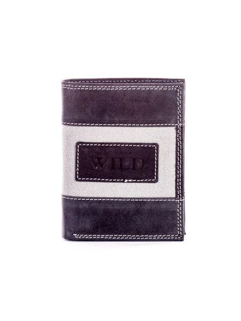 Czarny skórzany portfel dla mężczyzny z materiałową wstawką