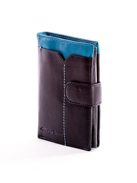 Czarny skórzany portfel dla mężczyzny z niebieską wstawką                              zdj.                              3