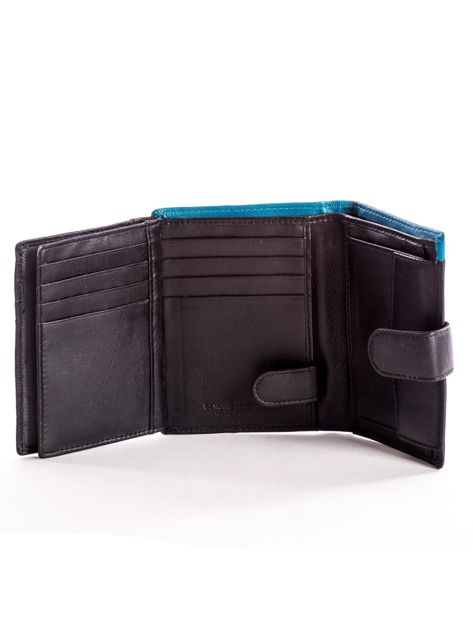Czarny skórzany portfel dla mężczyzny z niebieską wstawką                              zdj.                              6