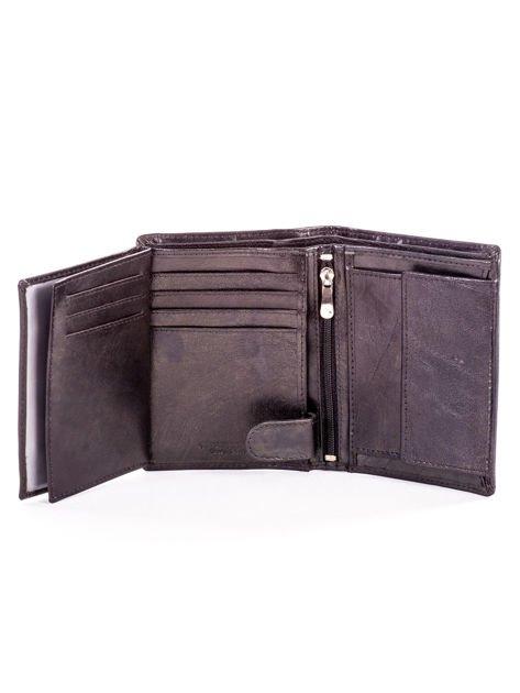 Czarny skórzany portfel dla mężczyzny z tłoczeniem                              zdj.                              6