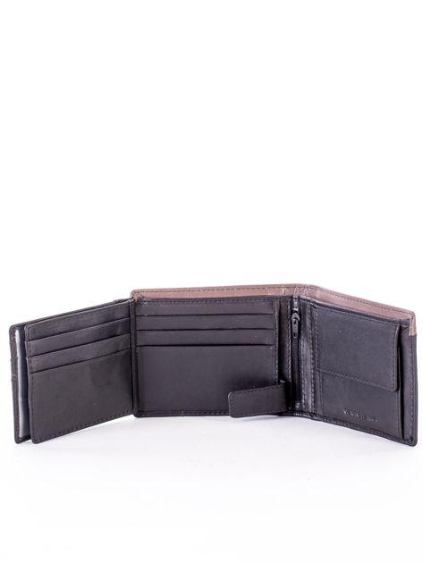 Czarny skórzany portfel męski z beżową wstawką                              zdj.                              5
