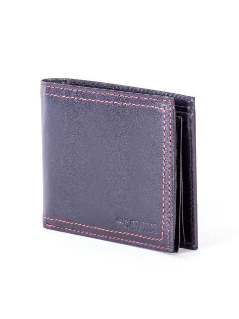 Czarny skórzany portfel męski z eleganckim czerwonym obszyciem                              zdj.                              3