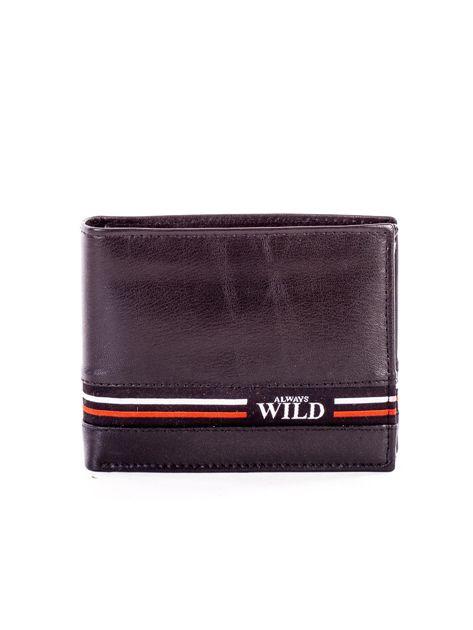 Czarny skórzany portfel męski z materiałowym modułem                              zdj.                              1