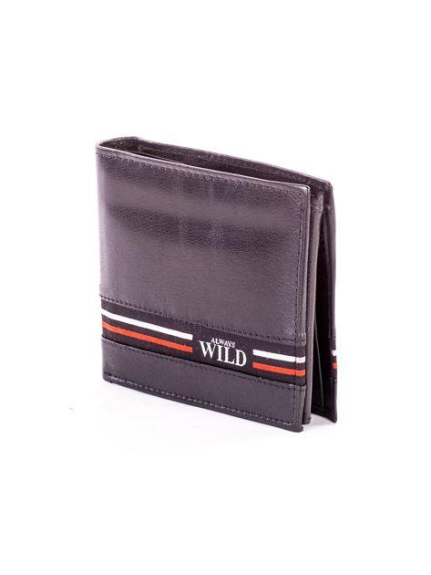 Czarny skórzany portfel męski z materiałowym modułem                              zdj.                              3