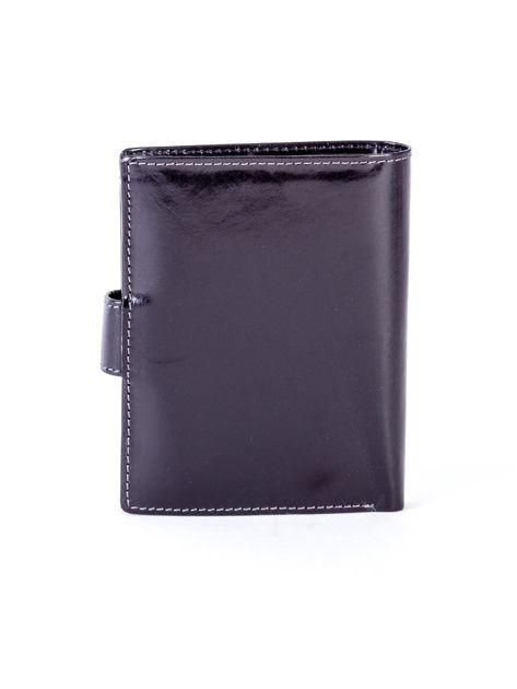 Czarny skórzany portfel na zatrzask                              zdj.                              2