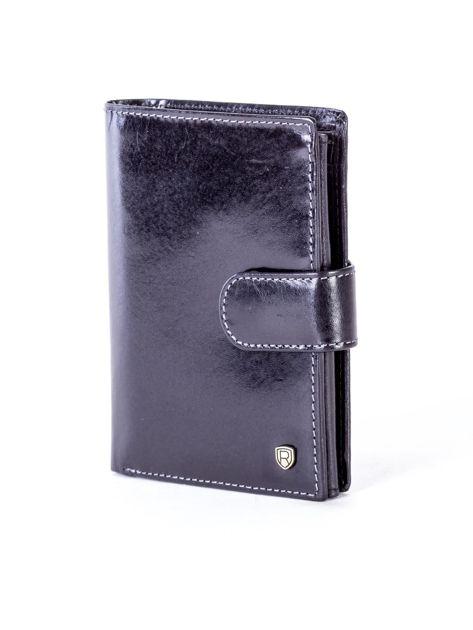 Czarny skórzany portfel na zatrzask                              zdj.                              3