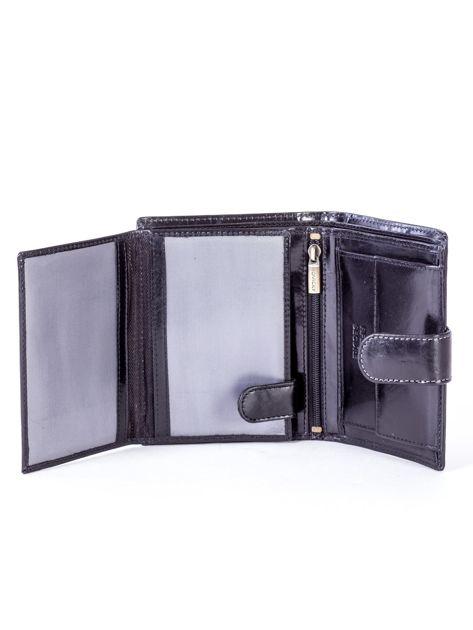 Czarny skórzany portfel na zatrzask                              zdj.                              5