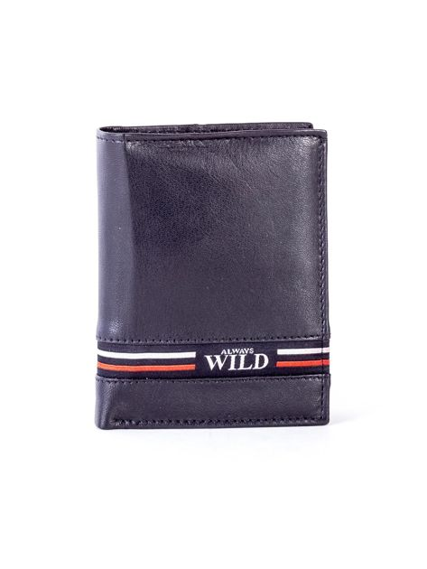 Czarny skórzany portfel z kolorową wstawką