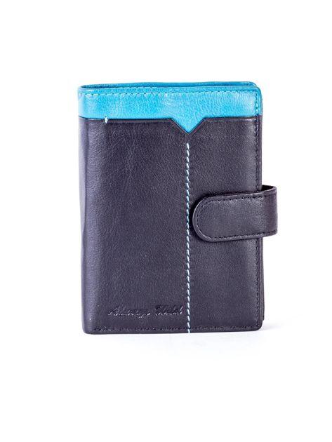 Czarny skórzany portfel z niebieską wstawką                              zdj.                              1