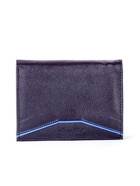 Czarny skórzany portfel z niebieskim wykończeniem                              zdj.                              1