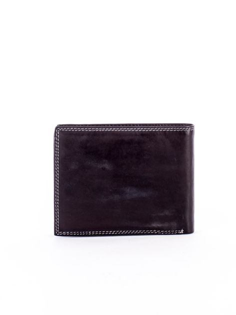 Czarny skórzany portfel z okrągłym tłoczeniem                              zdj.                              2