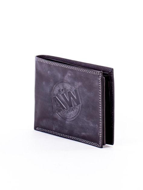 Czarny skórzany portfel z okrągłym tłoczeniem                              zdj.                              3