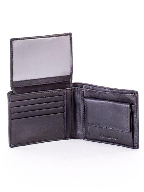 Czarny skórzany portfel z rozcięciem                              zdj.                              5