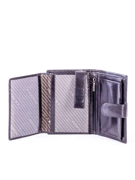Czarny skórzany portfel z tłoczeniami                              zdj.                              5