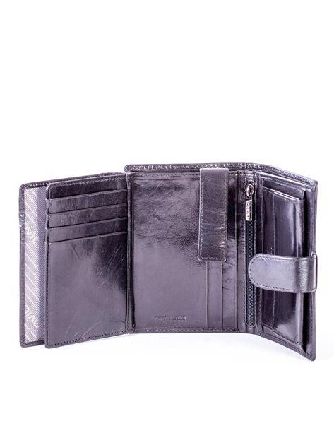 Czarny skórzany portfel z tłoczeniami                              zdj.                              6