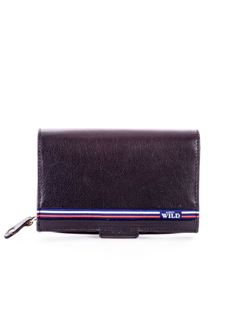 Czarny skórzany portfel z zapięciem