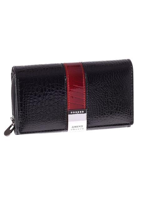 Czarny skórzany portfel ze wzorem skóry aligatora