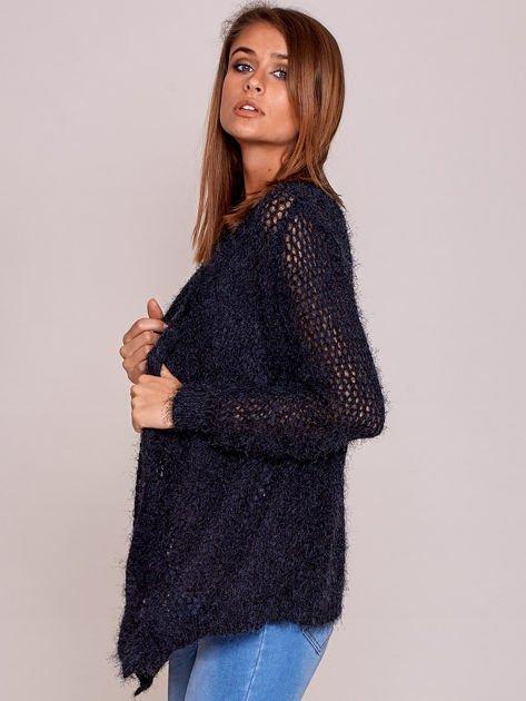 Czarny sweter ażurowy ścieg                              zdj.                              3