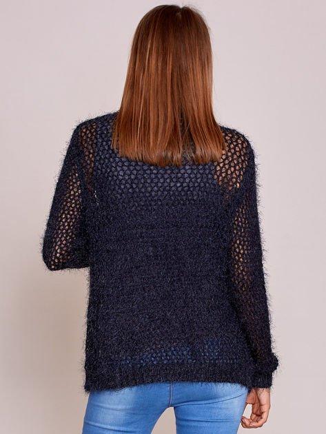 Czarny sweter ażurowy ścieg                              zdj.                              2
