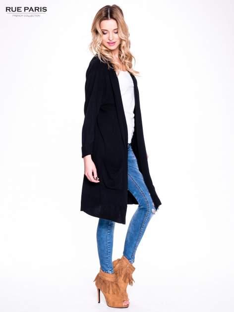 Czarny sweter długi kardigan z kieszeniami                                  zdj.                                  3