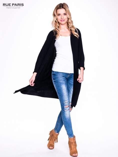Czarny sweter długi kardigan z kieszeniami                                  zdj.                                  8
