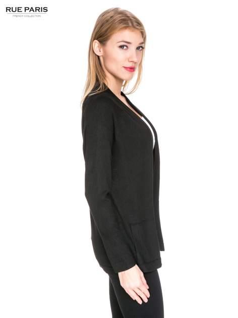 Czarny sweter kardigan z bocznymi kieszeniami                                  zdj.                                  3
