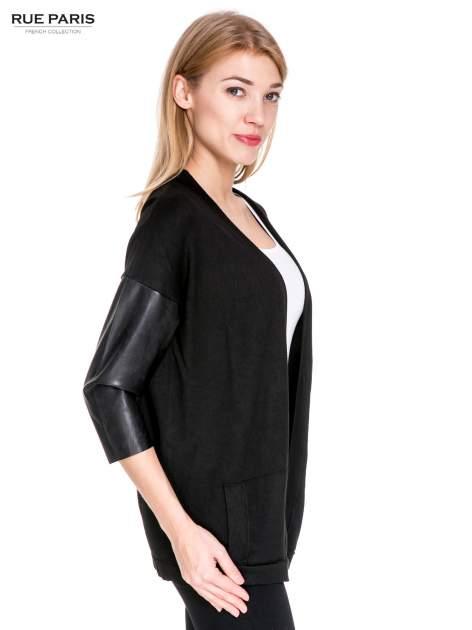 Czarny sweter kardigan ze skórzanym rękawami 3/4                                  zdj.                                  3
