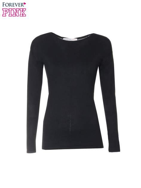 Czarny sweter z dłuższym tyłem i rozporkami po bokach                                  zdj.                                  5